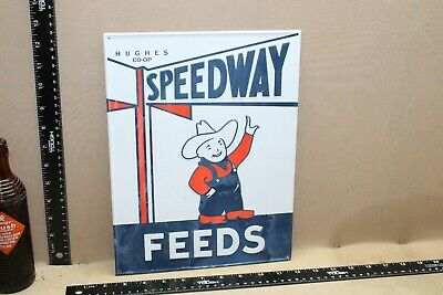Neat Speedway Feeds Embossed Tin Sign Hughes Co-Op Farm Gas Oil Seed Racing 66