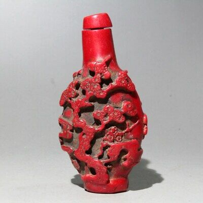 Collection Red Coral Hand-Carved Plum Blossom & Mythological Figure Snuff Bottle