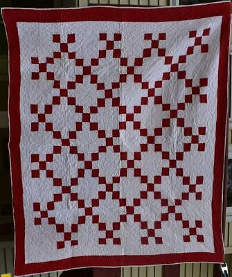 "Red and White Antique Quilt, ""Nine Patch Chain"" Double Borders, #18659"