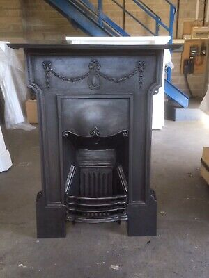 Original Edwardian All In One Combination Fireplace Complete With Grate