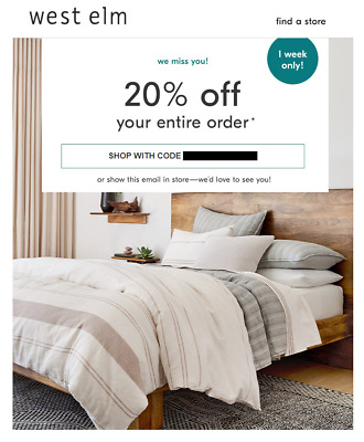 20% Off WEST ELM Entire Purchase Regular-Price (exp. 5/30/20) (not 15% not 10%)