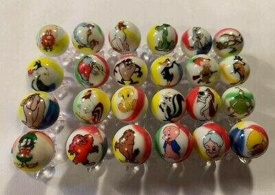 LOONEY TUNES 5/8 size glass marbles with stands