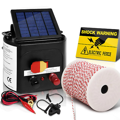 NEW Giantz 5km Solar Electric Fence Energiser Charger with 500M Tape and 25pcs I