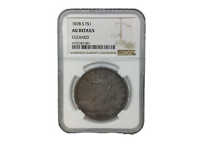 1878 S United States Silver Trade Dollar NGC AU Details - Cleaned