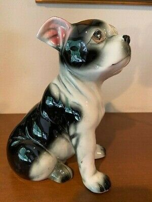 Vintage Ceramic Sitting Boston Terrier Figurine By Chase Made In Japan EUC