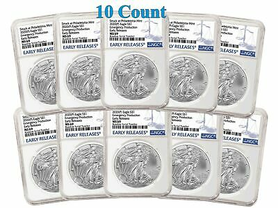 Lot Of 10 - 2020 (P) $1 Silver American Eagle NGC MS69 Early Releases ER Live Re