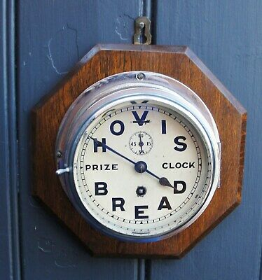 """EARLY 1900s """"HOVIS BREAD"""" ADVERTISING WALL CLOCK in splendid working condt"""
