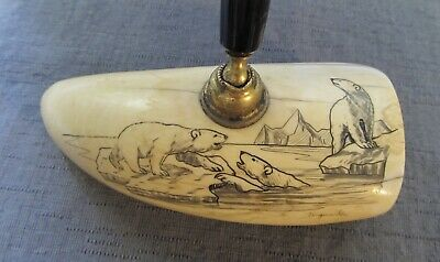 Antique Faux Whales Tooth Polar Bears Icebergs Pen Holder Alaska 5""