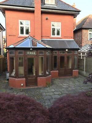 Large P-Shaped Wooden Conservatory