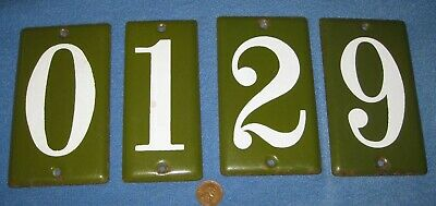 Four Vintage Porcelain Enamel Street Address Numbers: 1,2,6,9,0