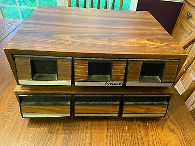 2 Vintage Audio Cassette Storage Case Cabinet 3 Drawers Holds 42 Tapes Stackable