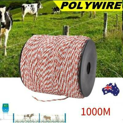 1000m Roll Polywire Electric Fence Rope Fencing Poly Tape Farm Grazing Control A