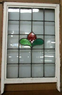 "OLD ENGLISH LEADED STAINED GLASS SASH WINDOW Simple Flower 20.75"" x 28""to 31.25"""
