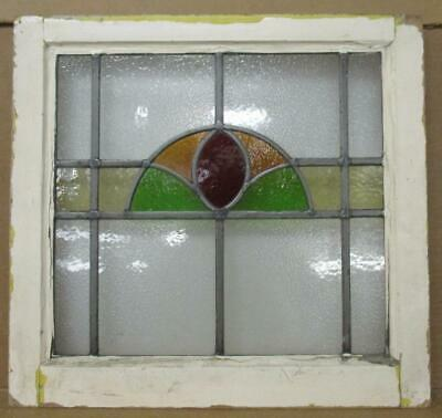 "OLD ENGLISH LEADED STAINED GLASS WINDOW Arch with Stripe Design 20.25"" x 19"""