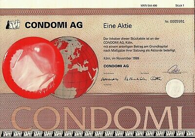 German stock certificate 1 Share. Condom's Joint Comp. 1999 uncancelled