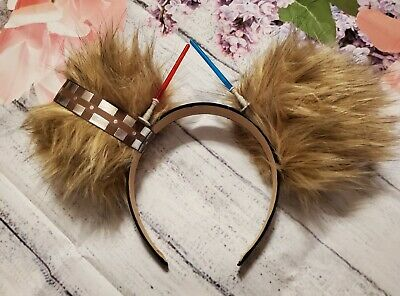 New Disney Star Wars Chewbacca Mickey Ears with lightsabers!!!