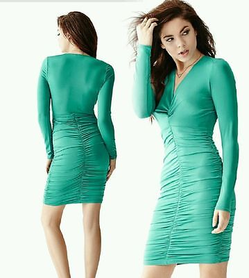 NWT Guess Long Sleeved Knot Front Dress XXS Teal Green Sexy Club V neck Bebe