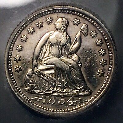 1854 Seated Liberty Half Dime 5c Rare High Date Variety AU50 Details IGC NR