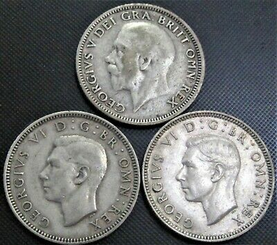 1926, 2x 1940 UK Great Britain Shillings  KM#816a,854 -  3 Silver Coins