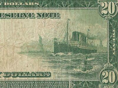 LARGE 1914 $20 DOLLAR FEDERAL RESERVE NOTE CURRENCY OLD PAPER MONEY Fr 988 PMG