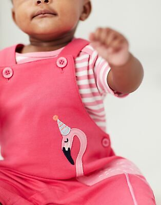 Joules Baby Girls Misha Applique Dungaree Set - PINK FLAMINGO