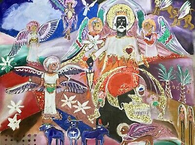 God & His Angels Transhuman Primitive Outsider Mixed Media Canvas Folk Art 31x26
