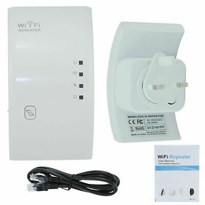 UK Plug 300Mbps Wifi Wireless N Repeater Internet Range Extender Booster Router