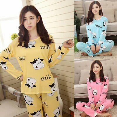 Women Lady Sleepwear Long Sleeve Pajamas Sets Cow Printing Home Suit Nightwear