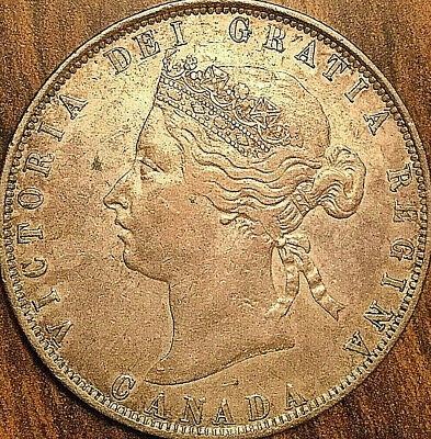 """1872H CANADA SILVER 50 CENTS COIN - Dp """"S"""" in """"CENTS"""" - Excellent example!"""