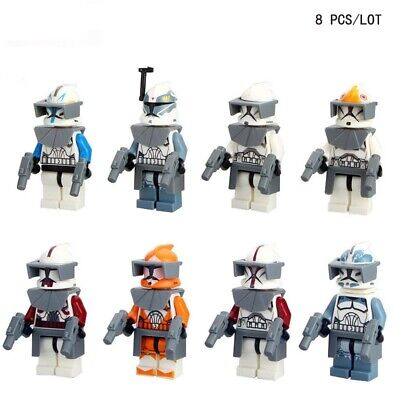 8 x Star Wars White Clone Rex Fox Wolfe Trooper With Weapon Fit Lego Blocks Toy