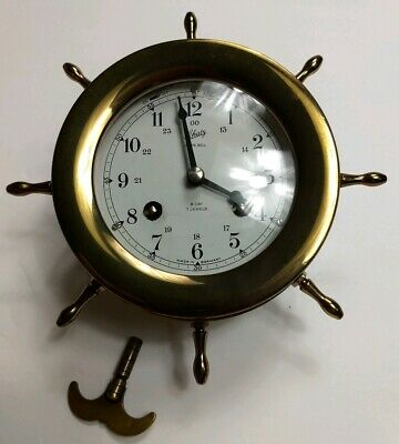 Vintage SCHATZ Ships Bell Clock 8 Day 7 Jewels Brass Germany XLNT Condition