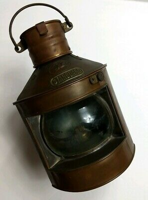Vintage Tung Woo Copper Starboard Nautical Ship Oil Lantern GOOD Condition