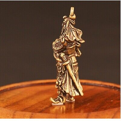 Retro Chinese Copper God Of Wealth Guan Gong Figure Statue Ornament