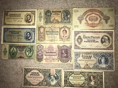 Hungary Pengo collection from WW2 WWII lot 11 banknote1930-1946. Original