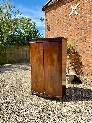 Antique Mahogany Bow Fronted Two Door Wardrobe by Maple & Co c.1890 19th C