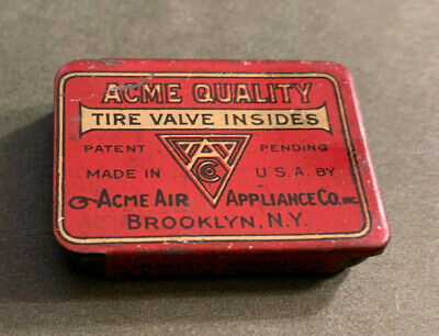 Acme Appliance Co Quality Tire Valves Tin With 3 Tire Valves Vintage