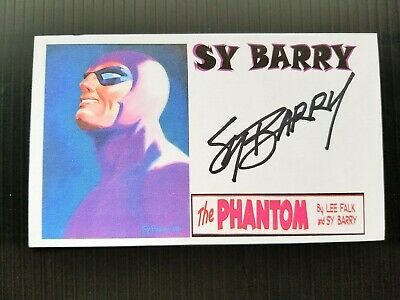 """The Phantom"" Sy Barry Comic Artist Autographed 3X5 Index Card"