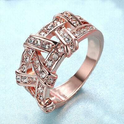 BG_ AU_ Am_ GC- Women Rhinestone Inlaid Crossover Finger Ring Wedding Engagement