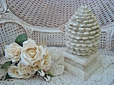 Awesome Shabby Painted Large Pinecone Gold Accents French Style Finial Decor
