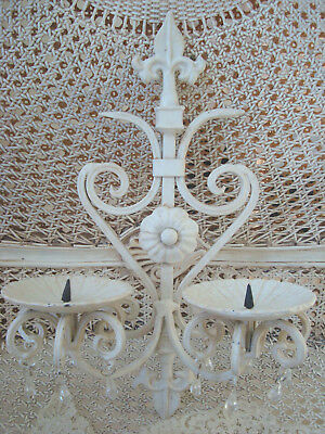 Shabby Pair Of Fleur De Lis Scrolly Metal Candleholders Sconces ***Pretty***