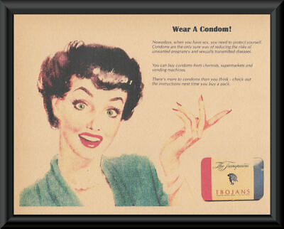 1940s Condoms Prevent VD Poster Reprint On 80 Year Old Paper *262