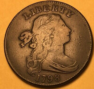 1798 Draped Bust Large Cent S-162 F/VF, R-4 Ex: 1986 Van Cleave Auction #5176