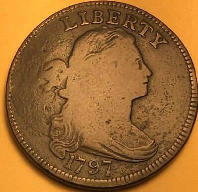 1797 Griped Edge Draped Bust Large Cent, VG/F Details, S-121b R-3