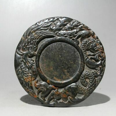 Collectable China Old Jade Hand-Carved Dragon & Phoenix Delicate Unique Inkstone