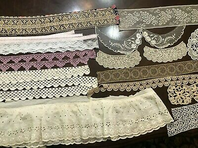Vintage Antique Lot of Lace, Trims, Edging, Embellishments, Scraps, Crochet, Etc