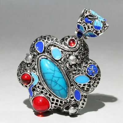 Collectable China Miao Silver Cloisonne Agate Handwork Carve Noble Chic Pendant