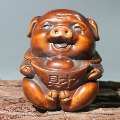 Collectable China Old Boxwood Hand-Carved Auspicious Pig Bring Wealth Fun Statue