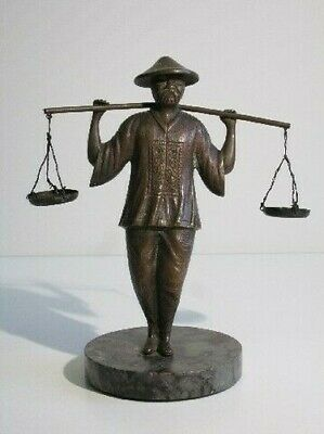 Vintage Statue Figure Bronze Man Chinese with Dry on base Marble Xx Century