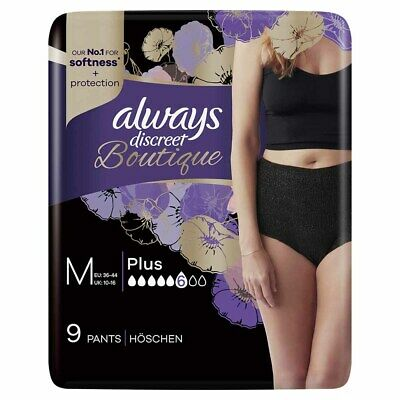 Always Discreet Boutique - Incontinence Pants - Black - Medium - Pack of 9