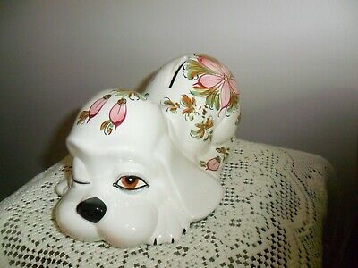 Vintage Ceramic WINKING Puppy Dog Coin Bank -HAND PAINTED PINK FLORAL Italy